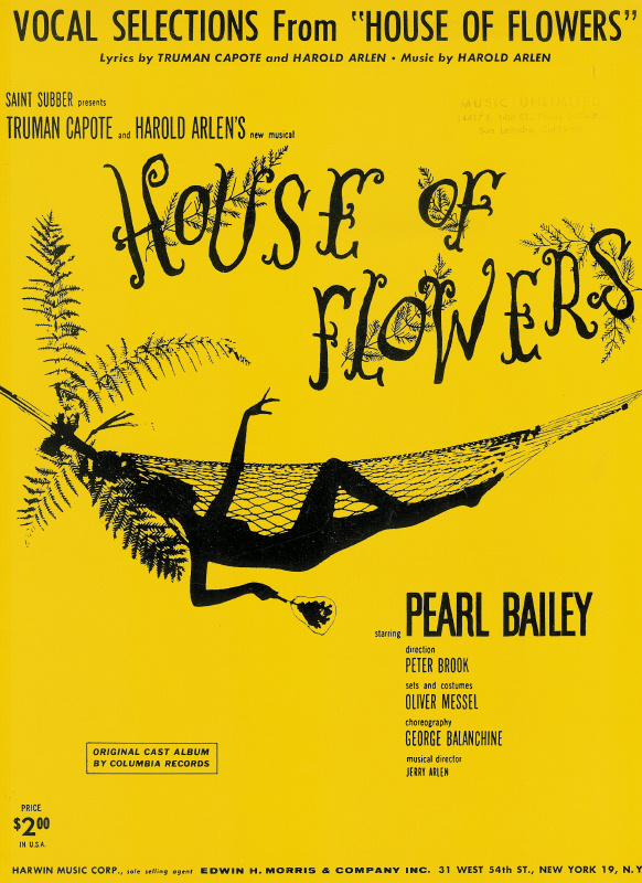 "Vocal Selections from ""House of Flowers"" - Truman Capote, Harold Arlen - Pearl Bailey - Broadway"